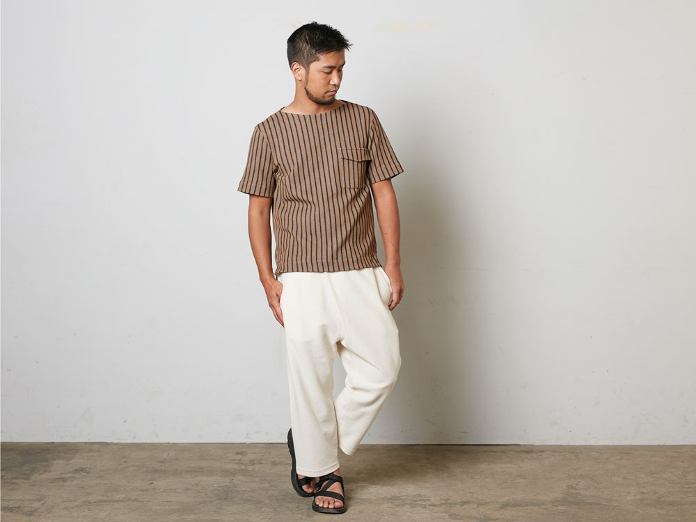 CottonLinenStripedPants XL Brown×Black1