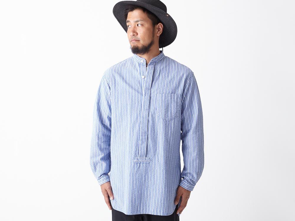 Striped Long Shirt XL Blue4