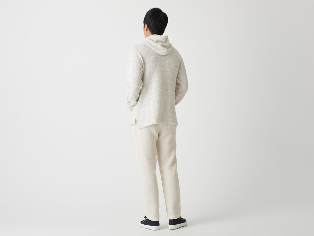 Long Loop Sweat Hoodie M White3