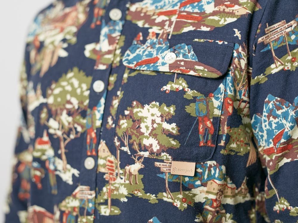 Mountain Printed Shirt L Navy7