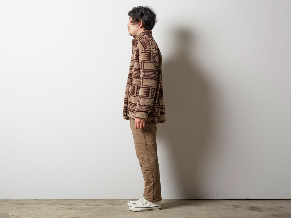 Printed Fleece Jacket S Beige×Brown1