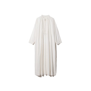 Hand-woven Cotton Pleated Dress 1 Ecru