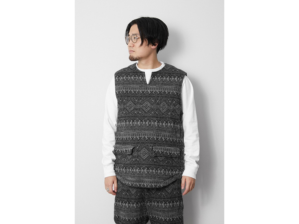 Shetland Cotton JQ Tweed Vest XL Grey