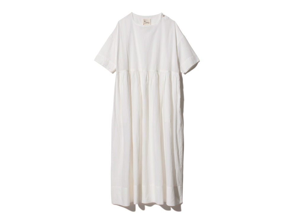 Hand-woven Cotton Gathered Dress 2 Ecru