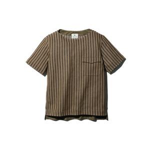 コットンリネンストライプティーシャツ