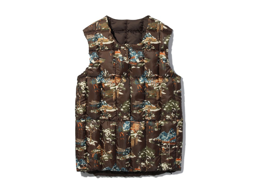Printed Inner Down Vest L Brown0