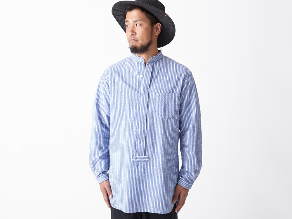 Striped Long Shirt M White4
