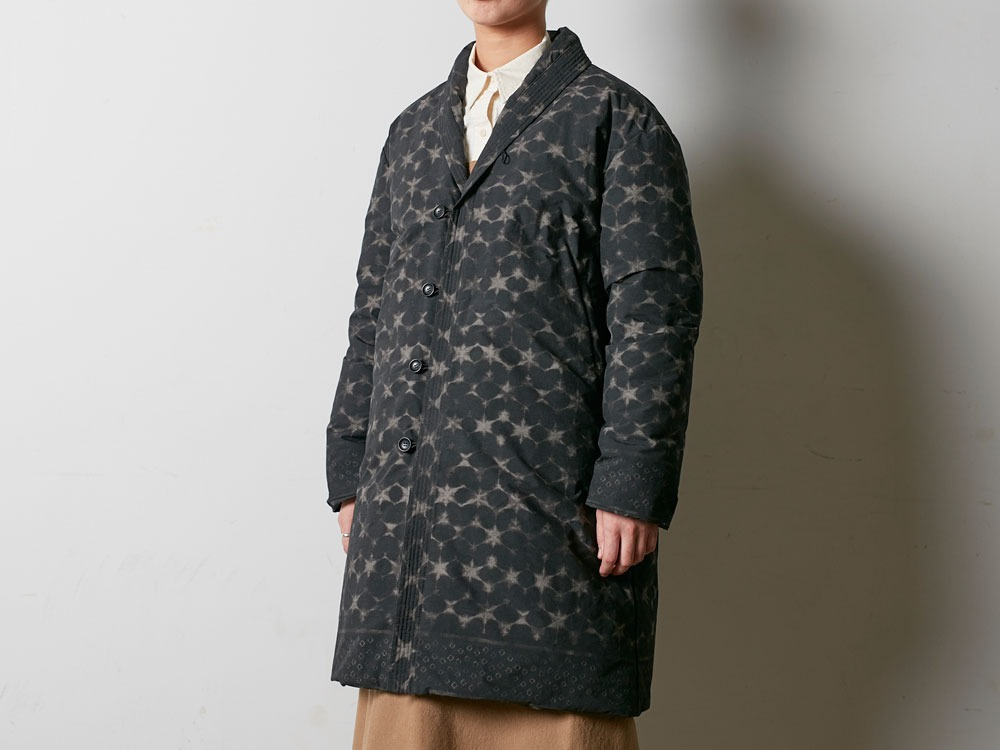 Indigo C/N Down L Coat Print 1 Black4