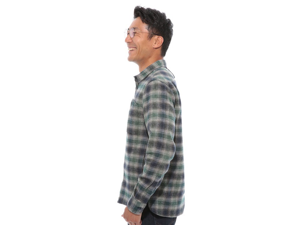 Hand-Dyed Heavy Flannel Check Shirt M Green3