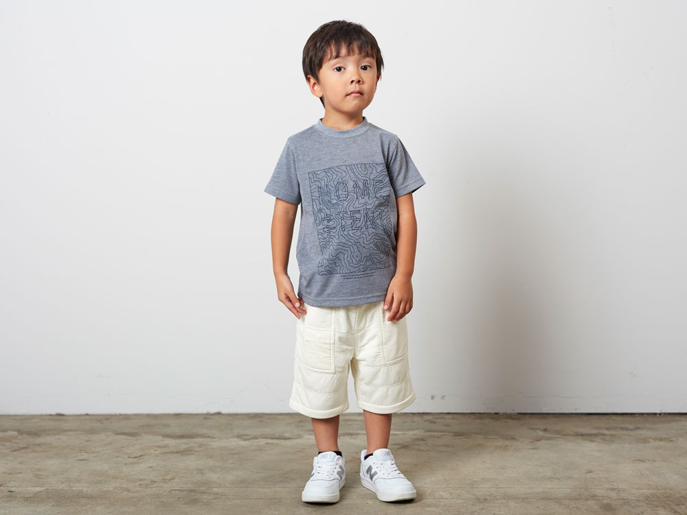 キッズクイックドライティーシャツ (コントゥールプリント)  1 ネイビー