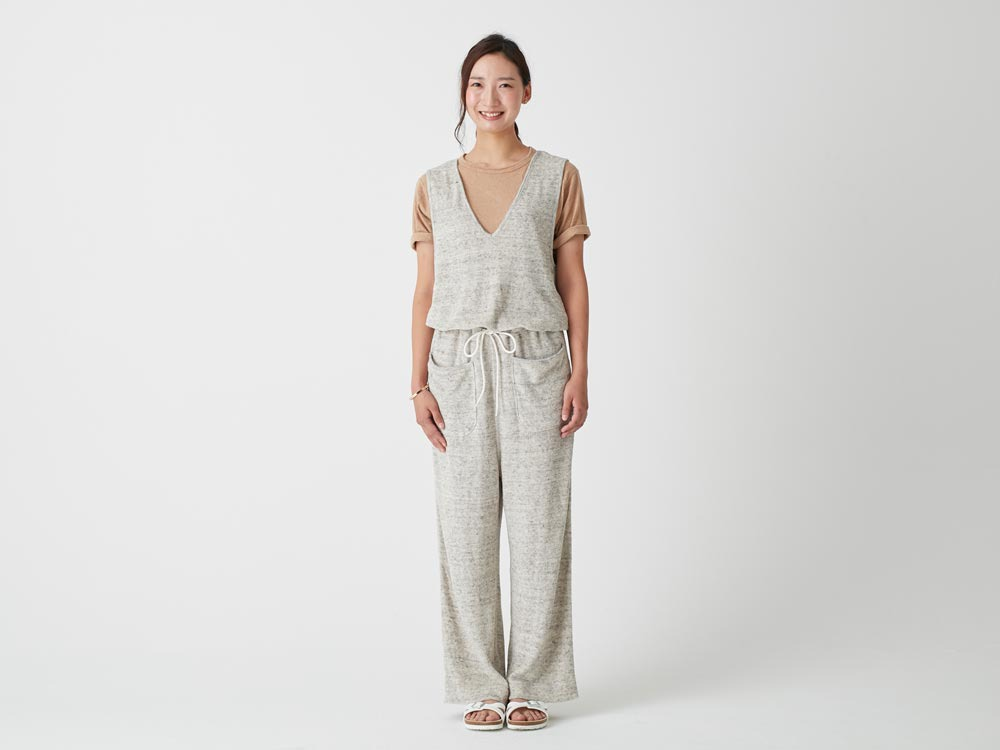 W's Linen Pile Overalls 2 Charcoal2