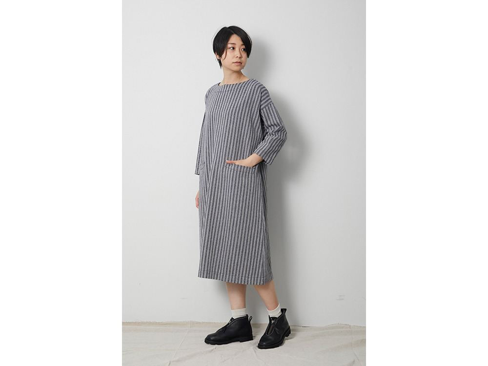 Cotton Herringbone Stripe Dress 3 Navy