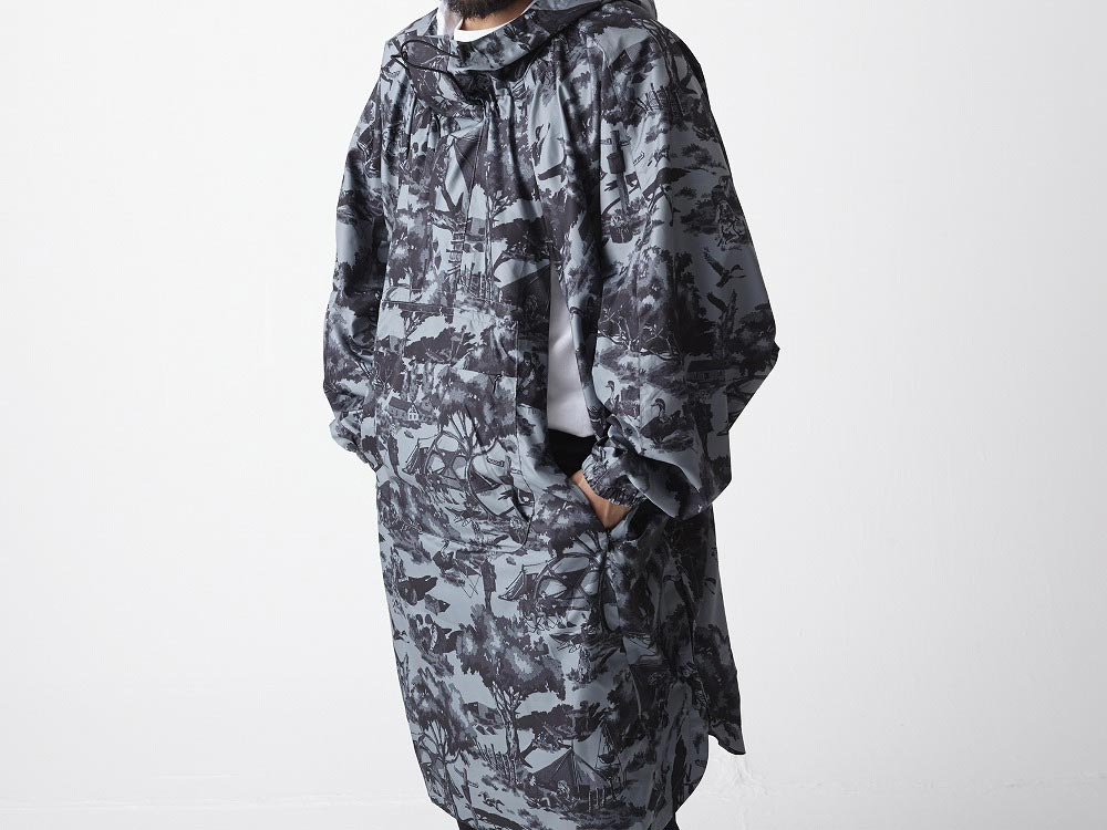 Printed Poncho:Camp Field 2 White8
