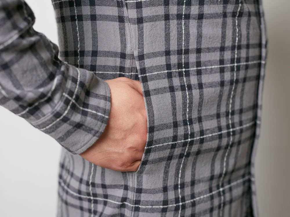 Check Flannel Shirt M Grey6