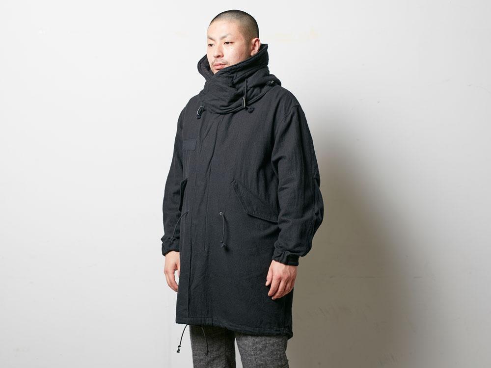 ウールミリタリーライニングコート L Black5