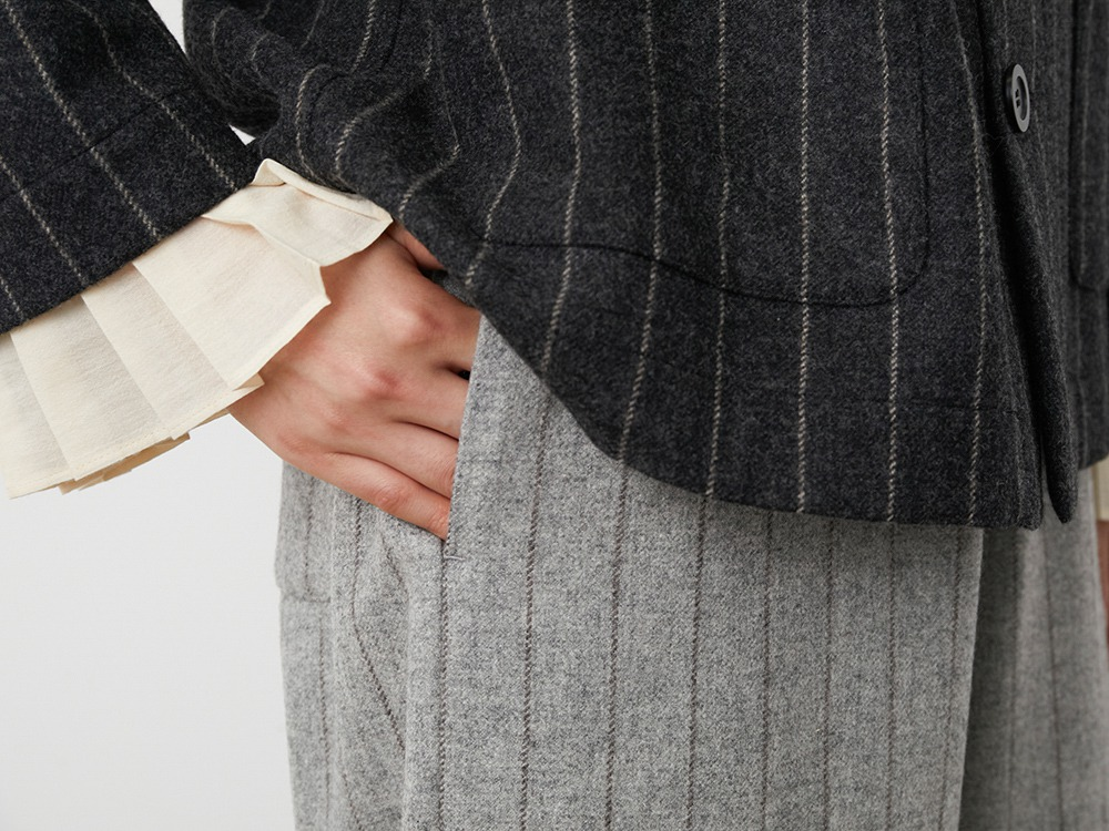 Striped Wool Pants 1 Lightgrey×Brown