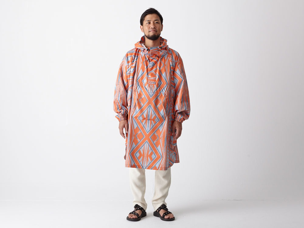 Printed Poncho:Solid Landscape 1 Navy1