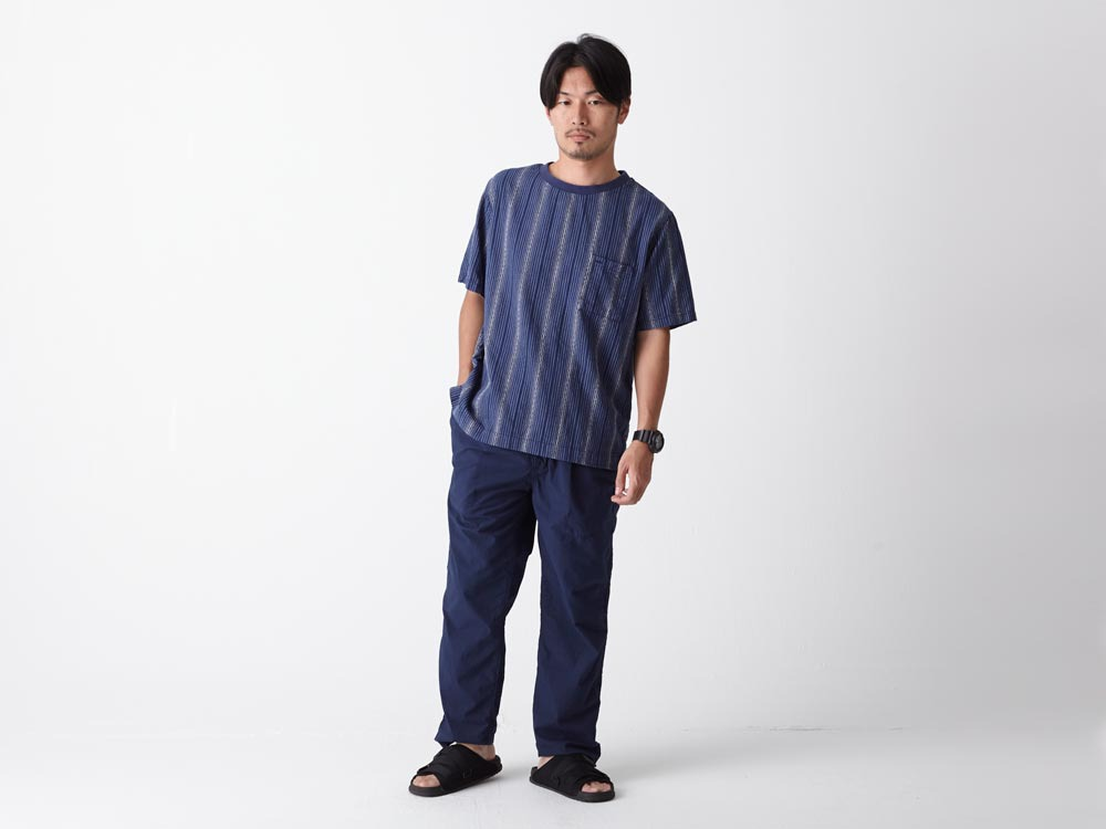Dobby Striped Pullover M Navy1