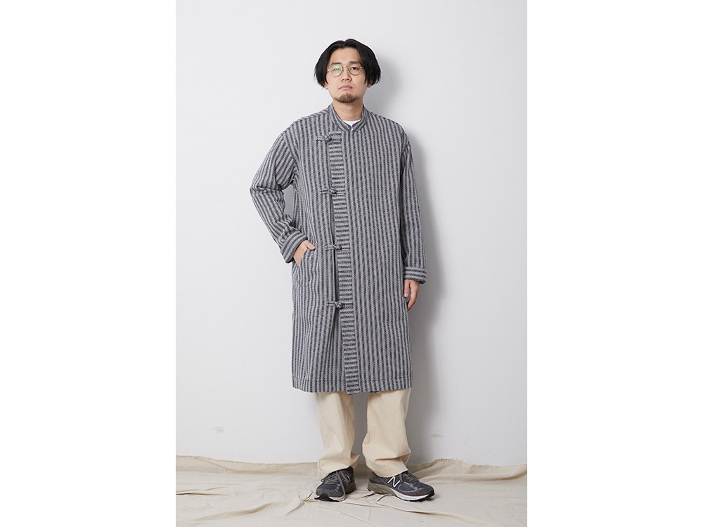 Cotton Herringbone Stripe CN Coat M BG