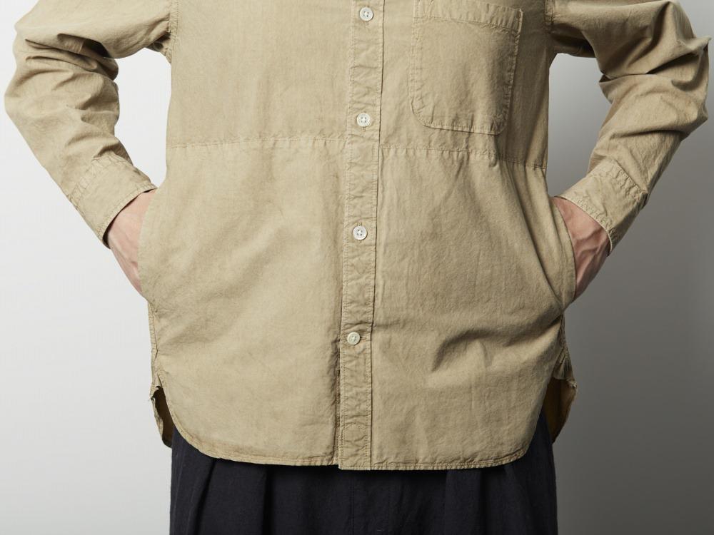 オーガニックコットンボタンダウンシャツ M ベージュ