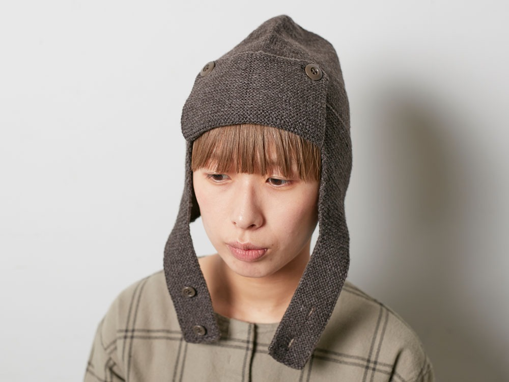 Wool Knit Flight Cap Grey2
