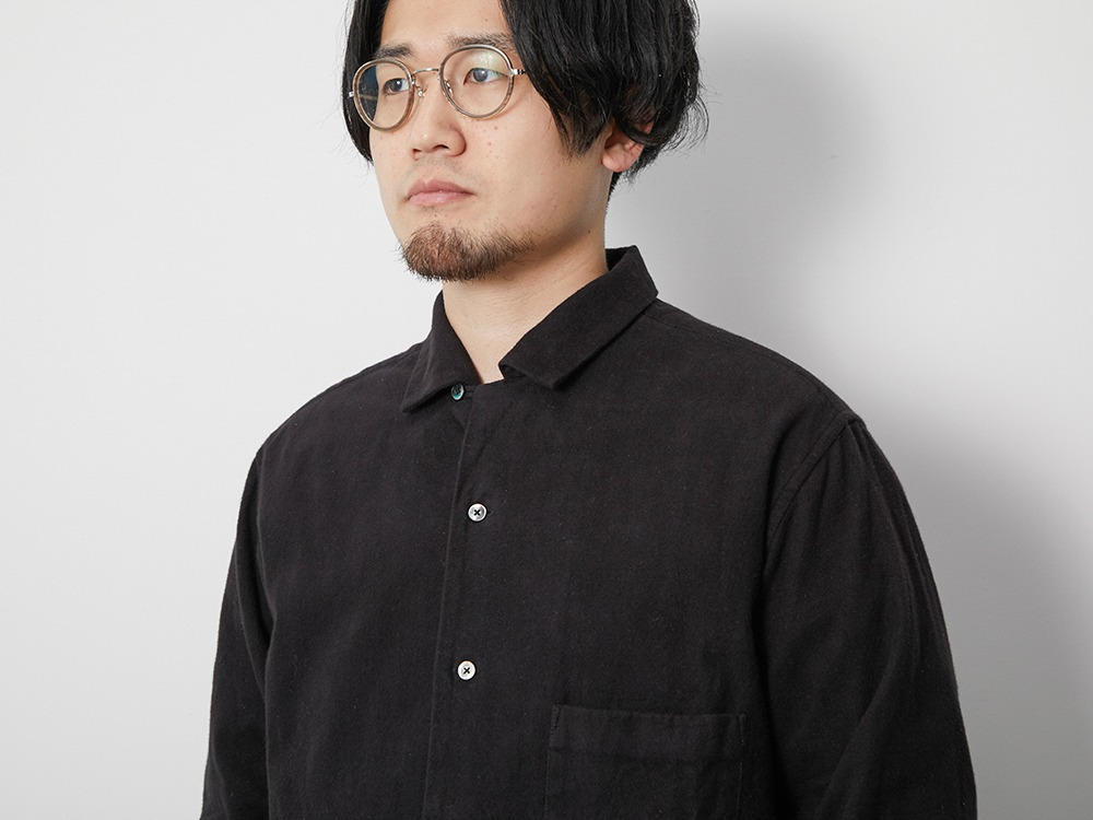 Organic Cotton Suede Shirt S Black