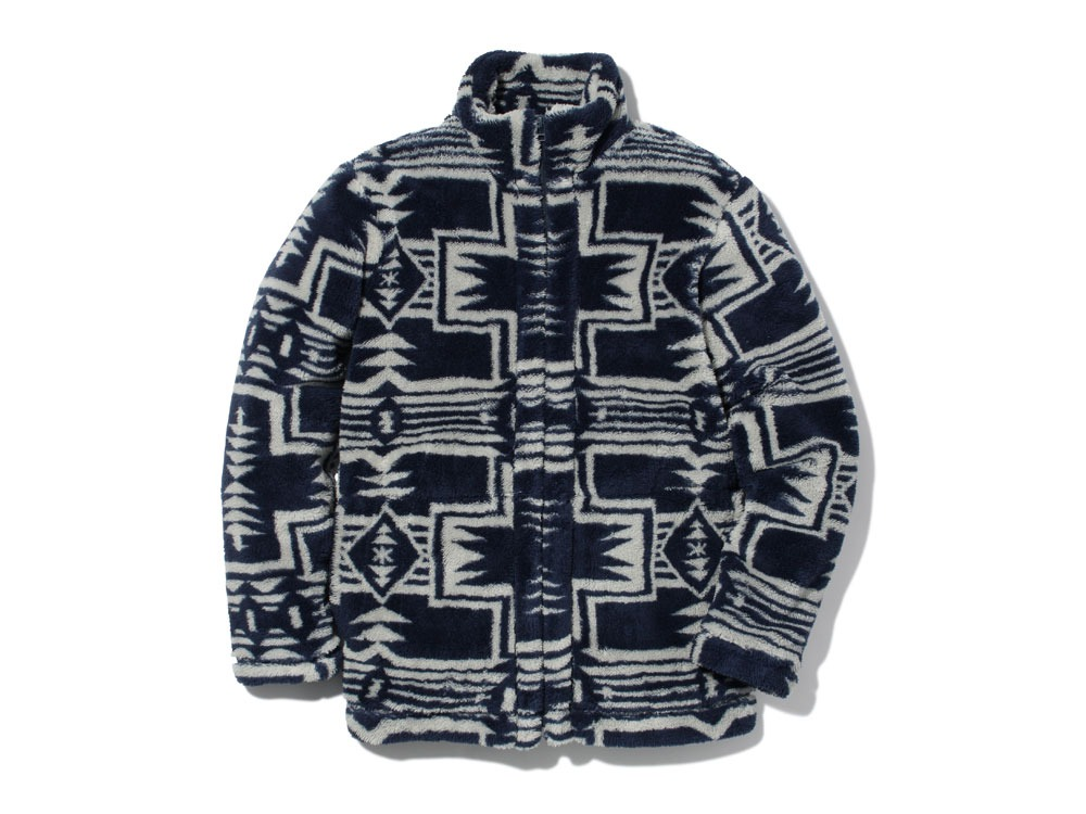Printed Fleece Jacket1Navy×Grey