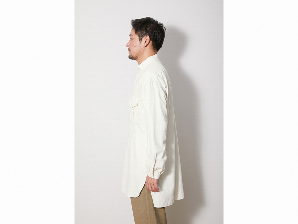 TAKIBI Long Shirt L EcruNavy