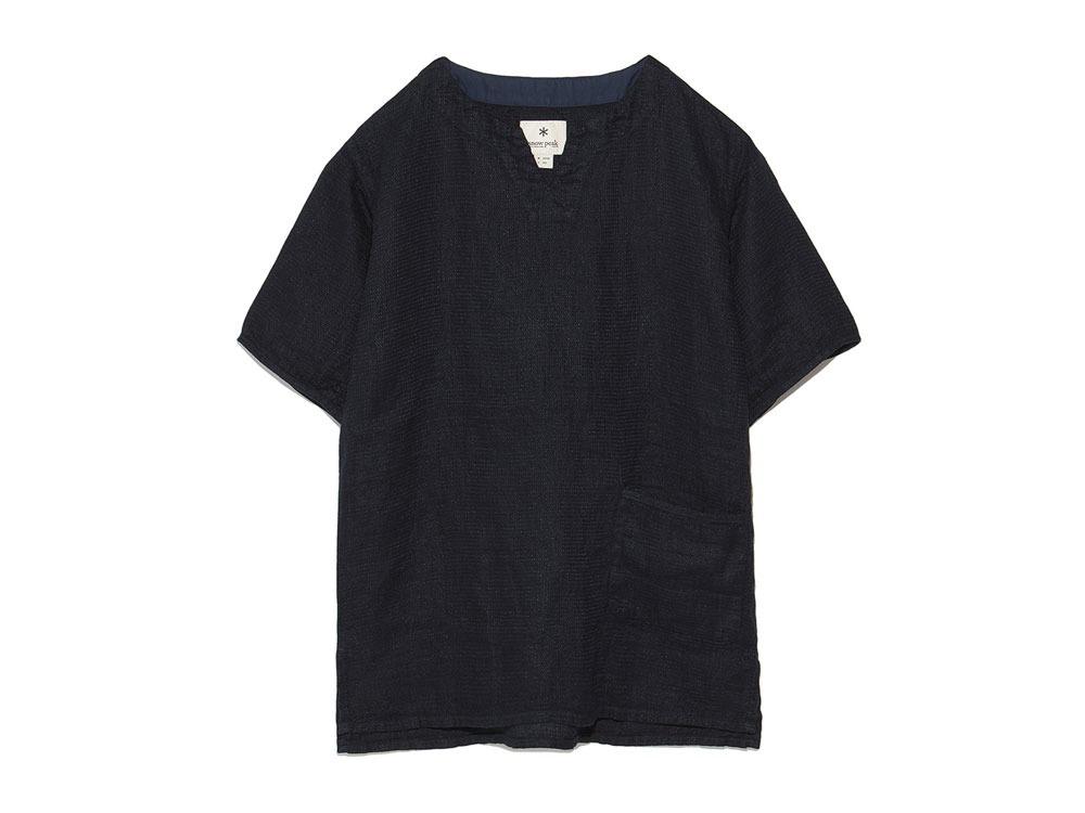 Linen Waffle Tshirt 1 Navy0