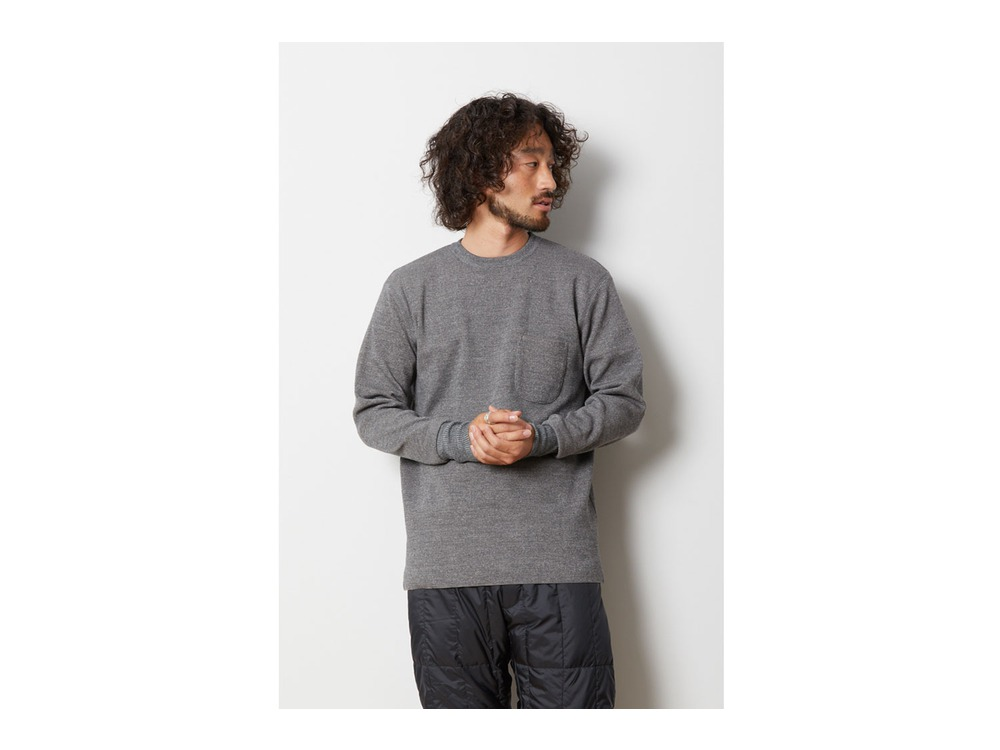 Wool Linen/Pe Crewneck Long Sleeve XL GY