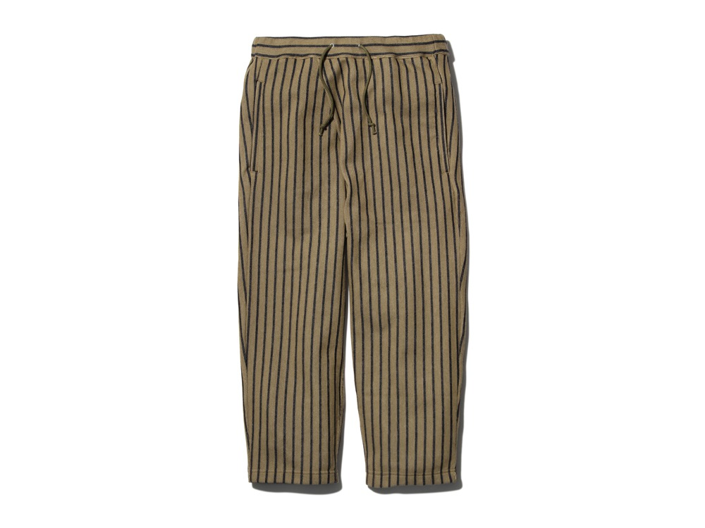 CottonLinenStripedPants 1 Brown×Black0