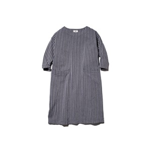 Cotton Herringbone Stripe Dress 2 Navy