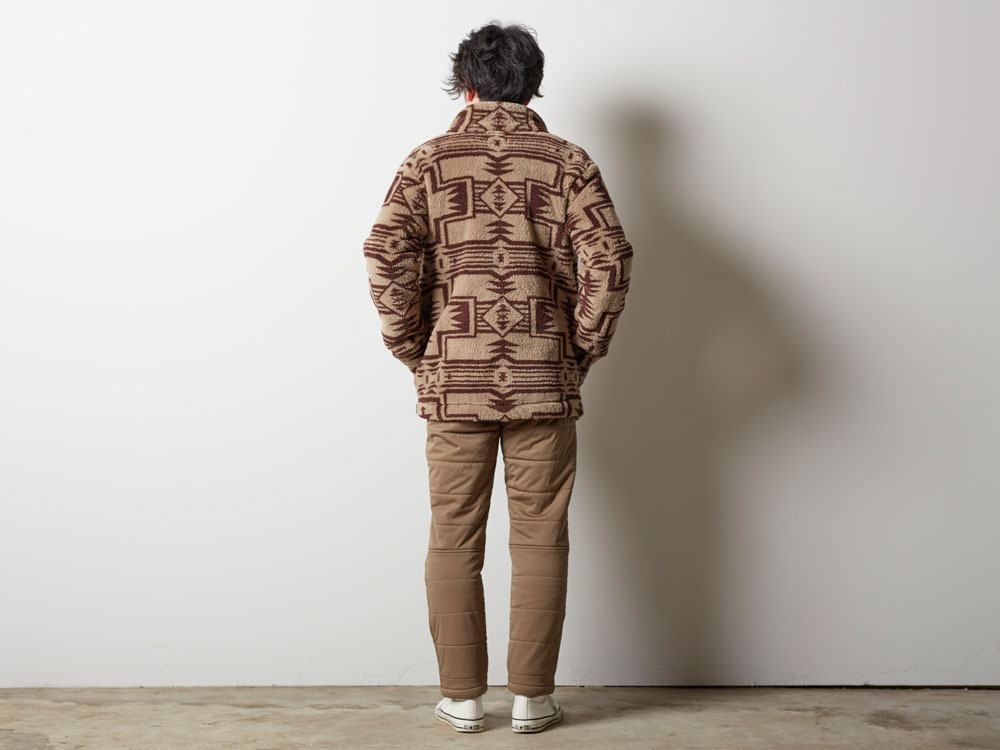 Printed Fleece Jacket M Beige×Brown2