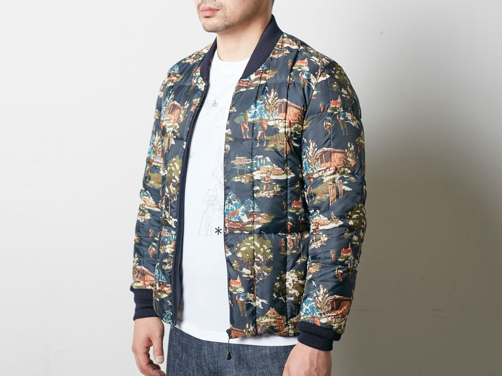 Printed Inner Down Jacket L Navy4