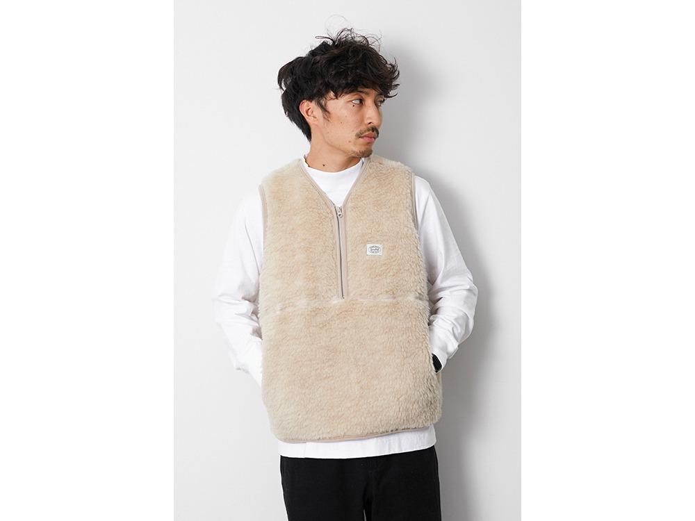 Wool Fleece Vest L Beige