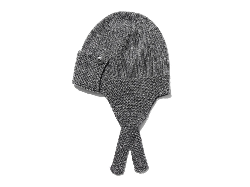 Wool Knit Flight Cap Grey0