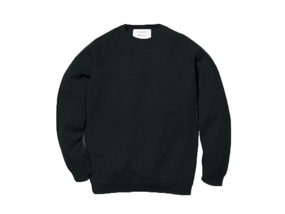 Raglan Crew Neck Knit Sweater S Black