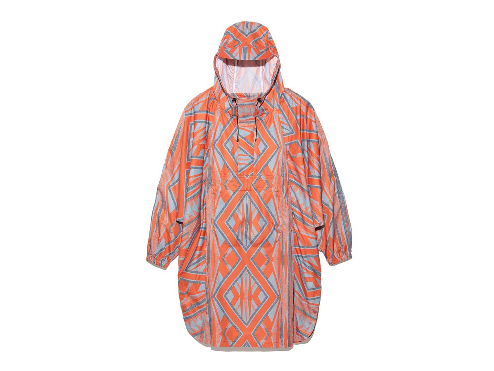 Printed Poncho:Solid Landscape 2 Orange0