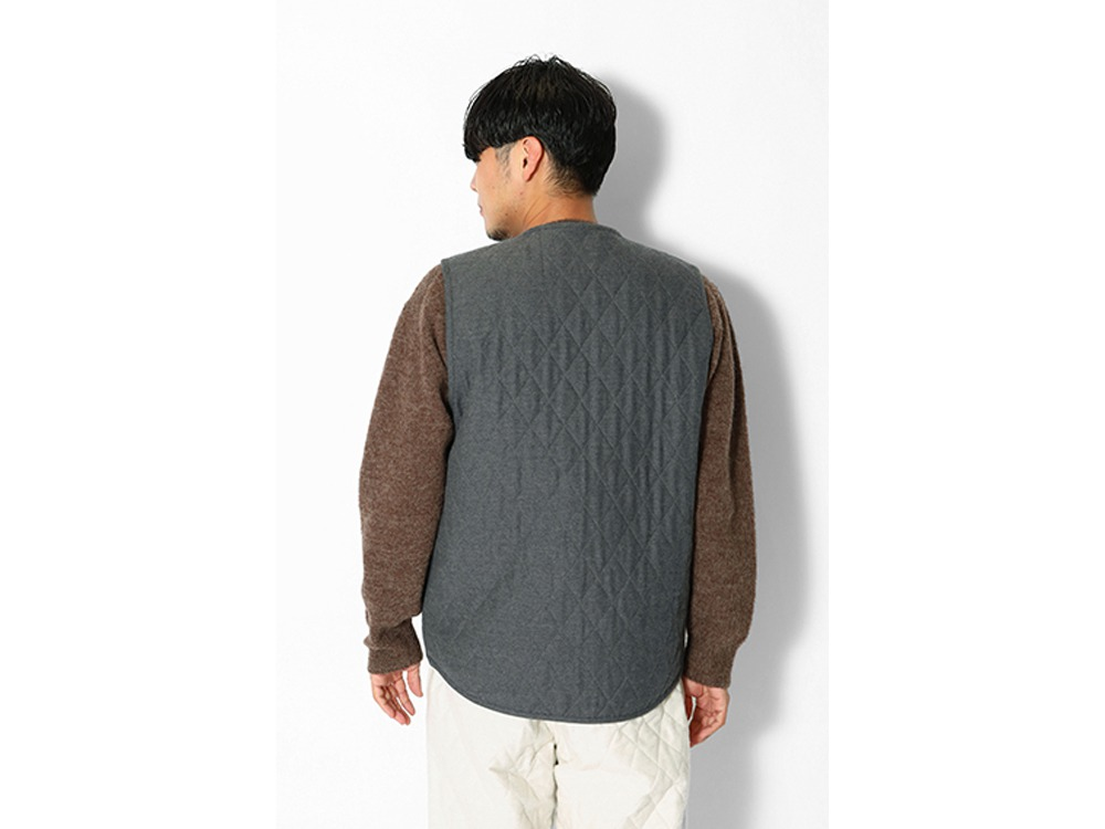 Quilted Flannel Vest L Charcoal