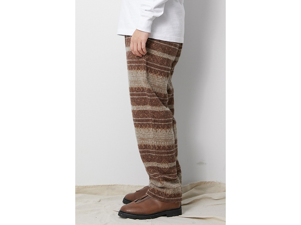 Shetland Cotton JQ Tweed Pants M Brown