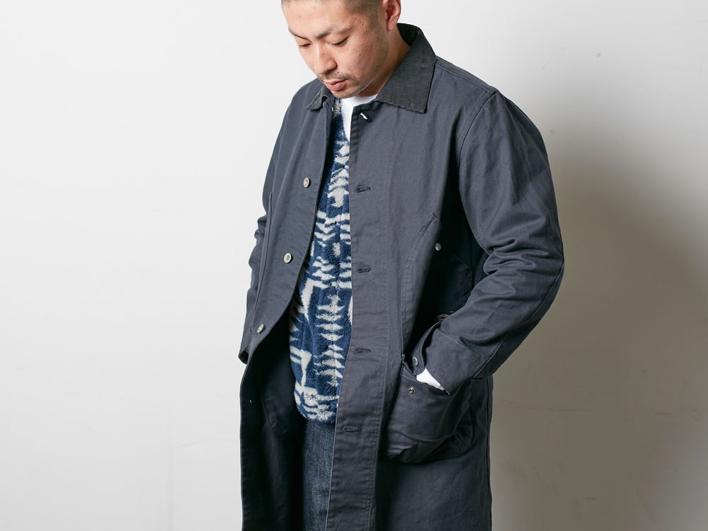 TAKIBI Shop Coat S Navy5
