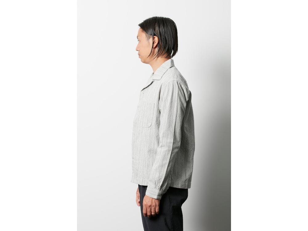 シジラ オープンカラーシャツ 1 メランジェグレー