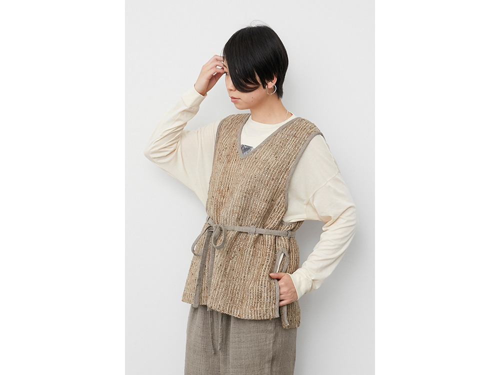 Hand-woven Wild Silk Linen Vest 1 NT