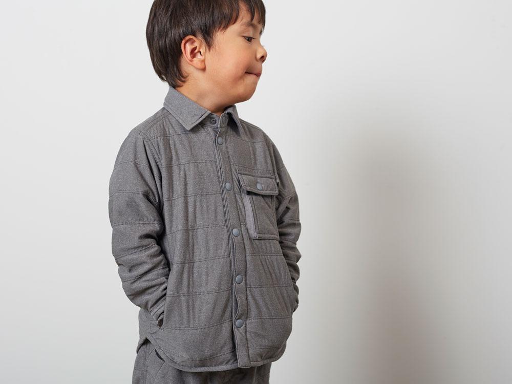 キッズフレキシブルインサレーションシャツ  4 メランジェグレー